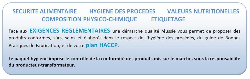 L'offre analytique pour répondre aux exigences réglementaires, HACCP et Paquet Hygiène