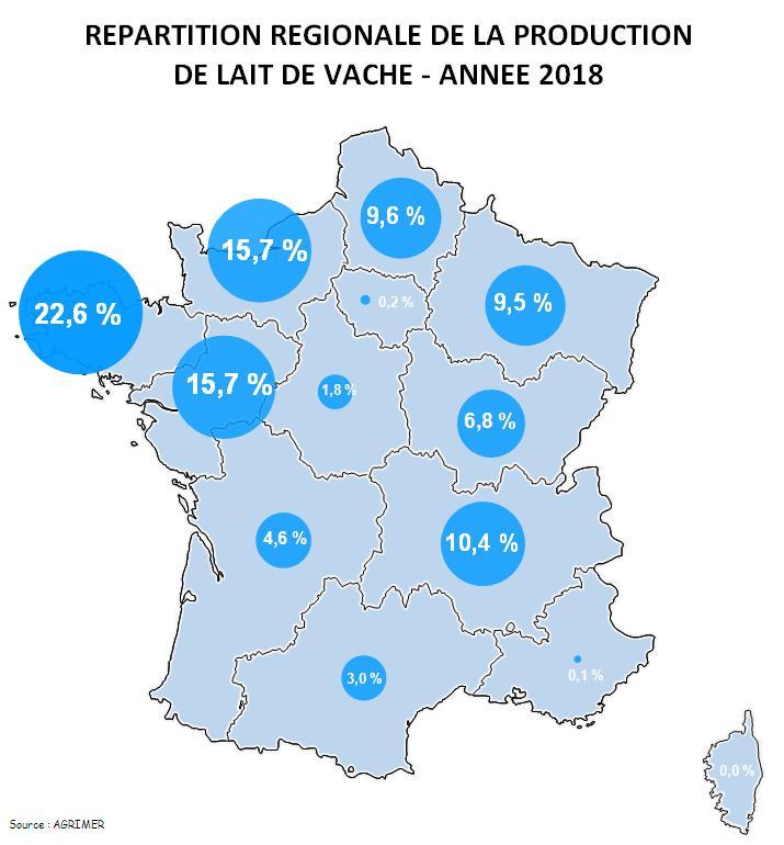 La Normandie 2ème région productrice de lait de vache?